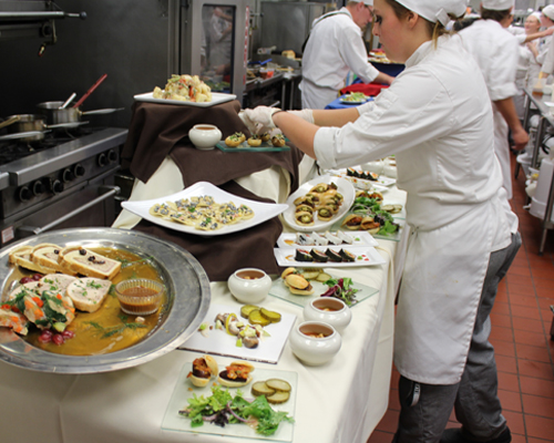Students from the Culinary and Hospitality Program at Paul Smith's College, the College of the Adirondacks.
