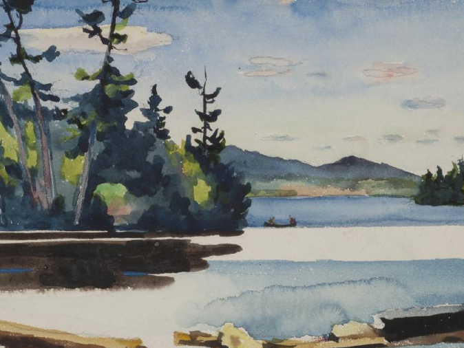 A painted view of Blue Mountain, at the center of the Adirondack Park, looking northeast from Blue Mountain Lake.