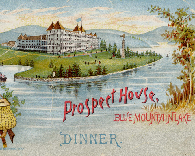 Vintage postcard depicting the Prospect House on Blue Mountain Lake.