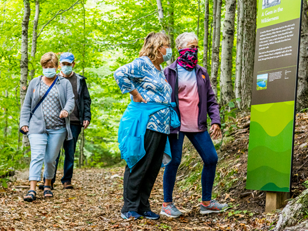 A group of masked hikers reading some of the informative signage along the Minnow Pond Trail.