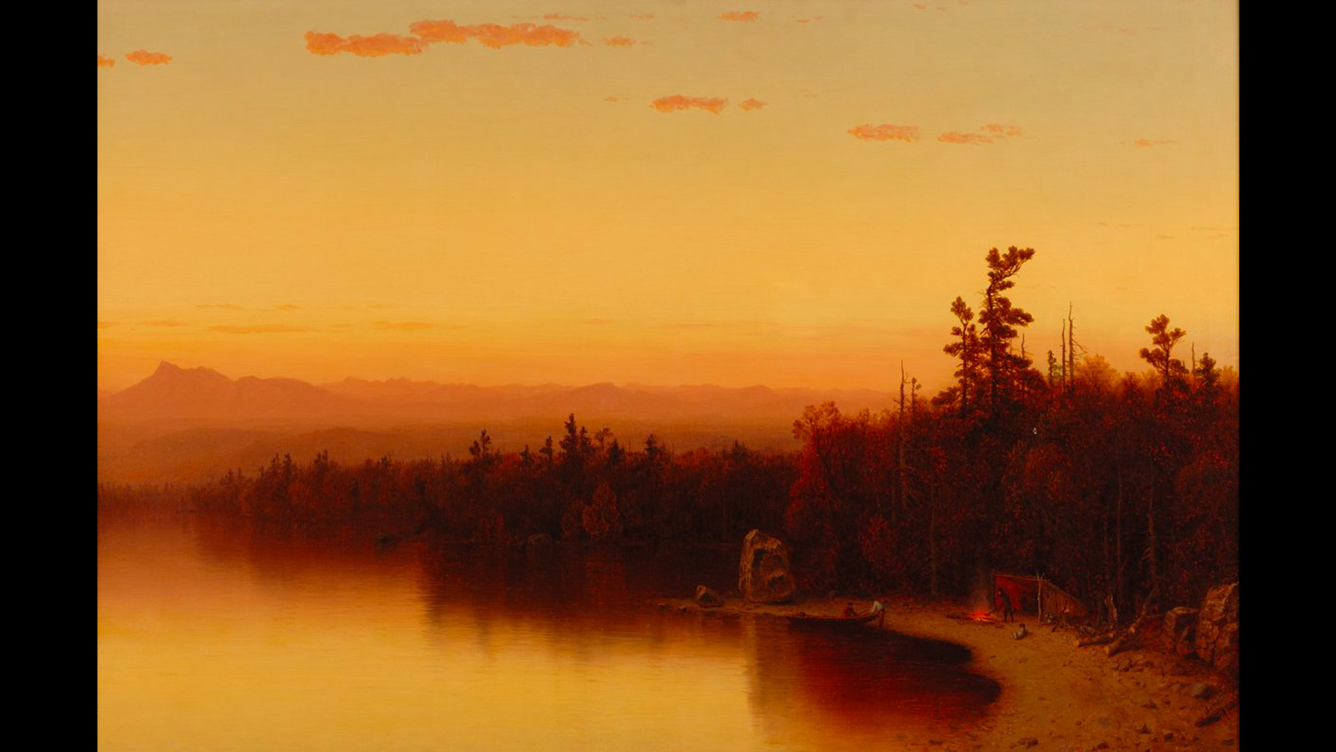 Twilight scene, lake entering from right foreground to left background reflects the sunset and brilliant sky which covers the upper half of the canvas.