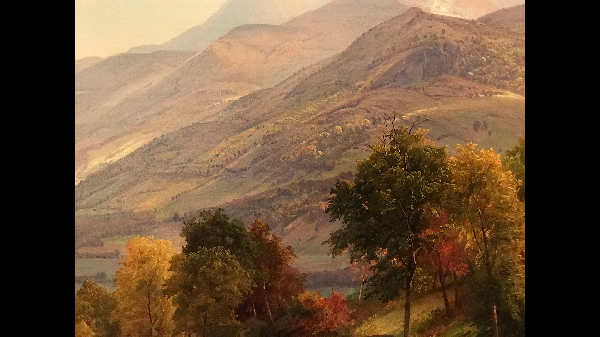 A painting showing the beautiful mountain landscape of the Adirondacks.