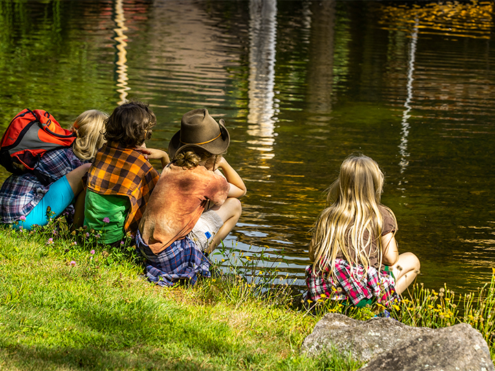 A group of kids looking at the fish across from the Marion River Carry Pavilion.