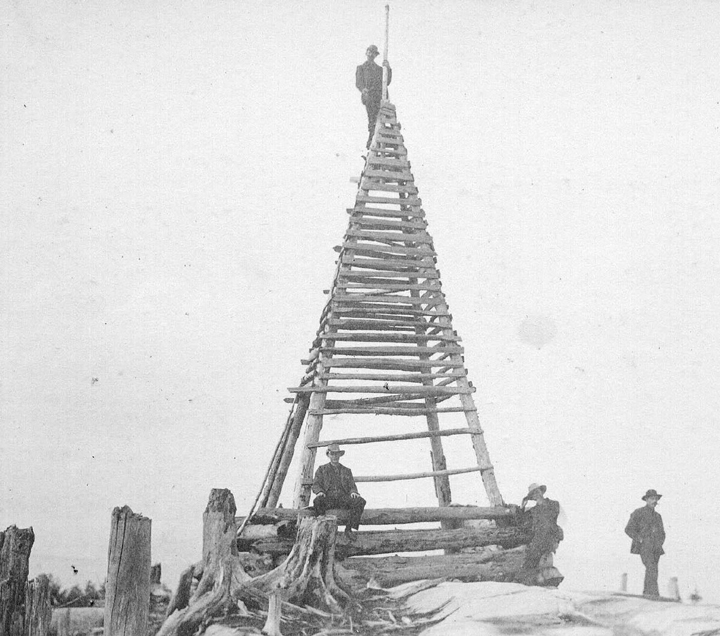 Verplanck Colvin and the survey team next to the Stan-Helio on Blue Mt., c.1880. (P067434)