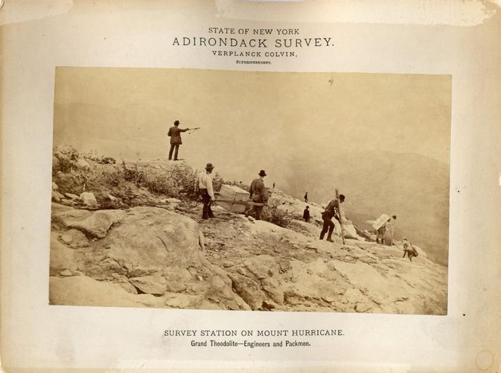 Survey crew on the summit of Mt. Hurricane, 1876 (P007955)
